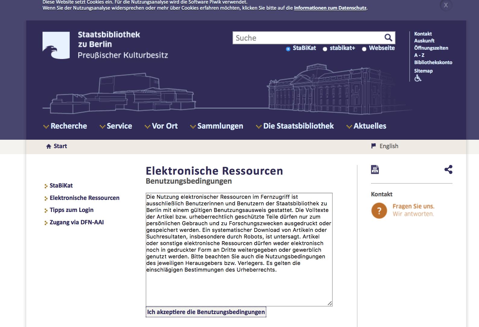 Stabi Katalog Remote Access Zustimmung E-Book