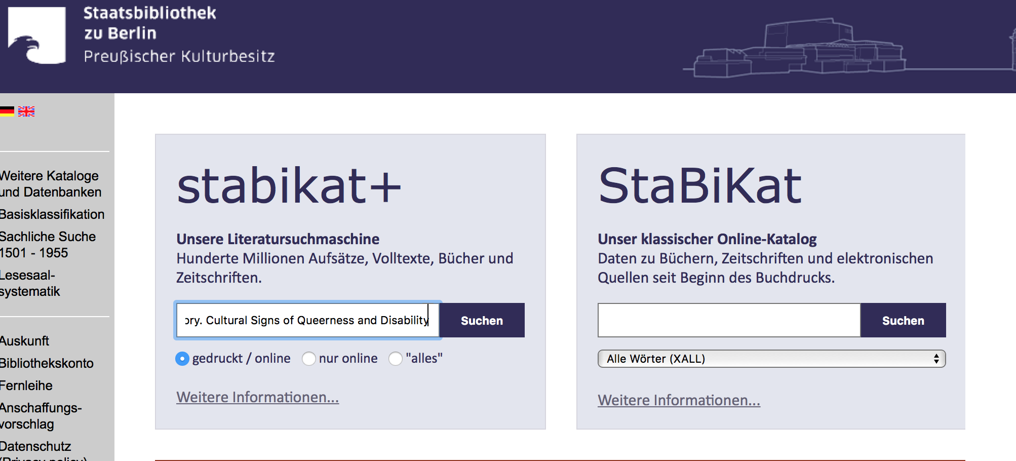 STABI Berlin Katalog Literatur finden Corona