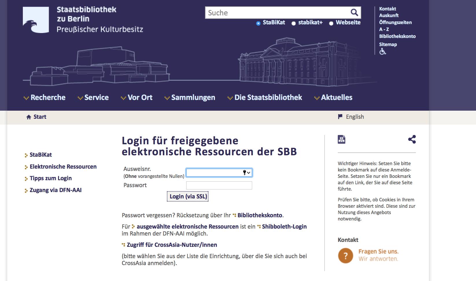 Stabi Katalog Remote Access Nutzernummer eingeben E-Book